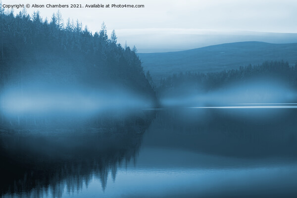 Blue Mist at Langsett Reservoir  Framed Mounted Print by Alison Chambers