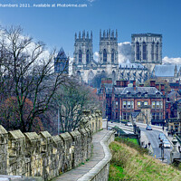 Buy canvas prints of York Minster and City Wall Landscape. by Alison Chambers