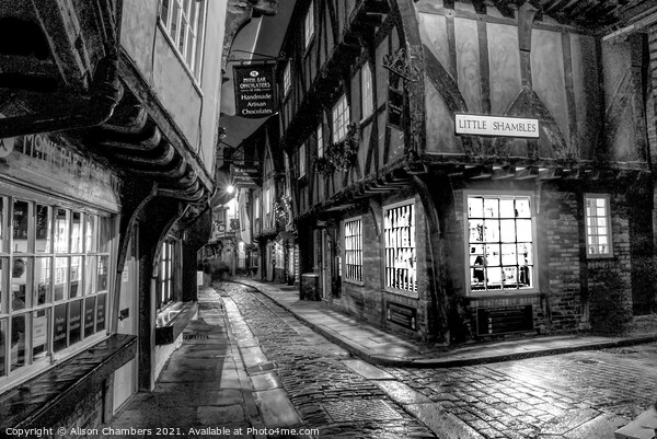 York Shambles in Black and White Framed Print by Alison Chambers