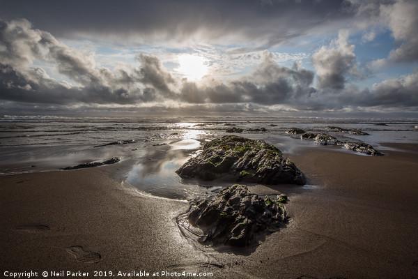 Croyde beach seascape Canvas Print by Neil Parker