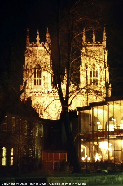 York Minster illuminated Framed Print by David Mather