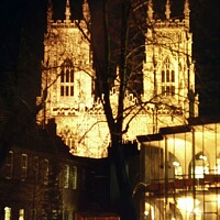 Buy canvas prints of York Minster illuminated by David Mather
