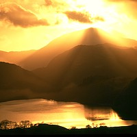 Buy canvas prints of Nant Gwnant Sunset by Simon Johnson