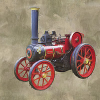 Buy canvas prints of Red Steam Traction Engine by Robert Deering