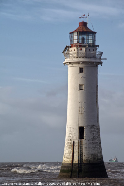 New Brighton Lighthouse in stormy weather Canvas print by Liam O'Malley