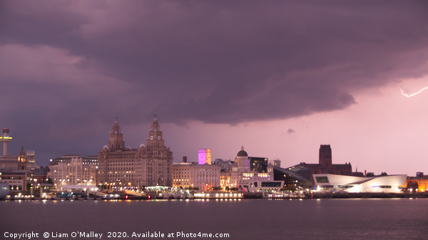 Spark of Lightning over the Liverpool Waterfront Print by Liam O'Malley