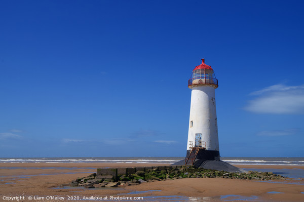 Point of Ayr Lighthouse at Talacre Beach Print by Liam O'Malley