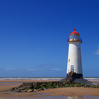Buy canvas prints of Point of Ayr Lighthouse at Talacre Beach by Liam O'Malley