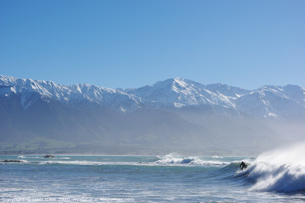 Surfs Up at Kaikoura, New Zealand. Print by Liam Neon