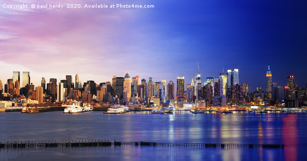 Manhattan Midtown from Day to Night	 Framed Mounted Print by paul hardy