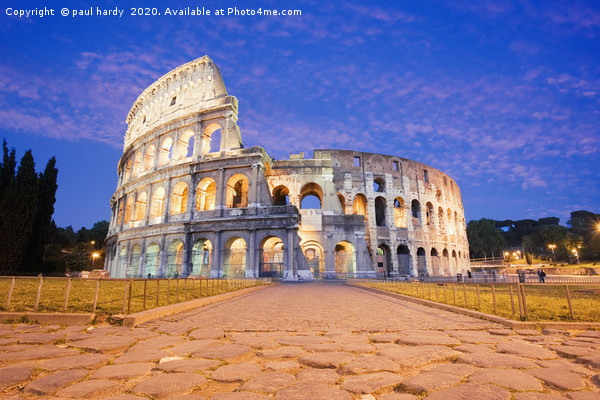The Colosseum illuminated at dusk rome italy Framed Mounted Print by paul hardy