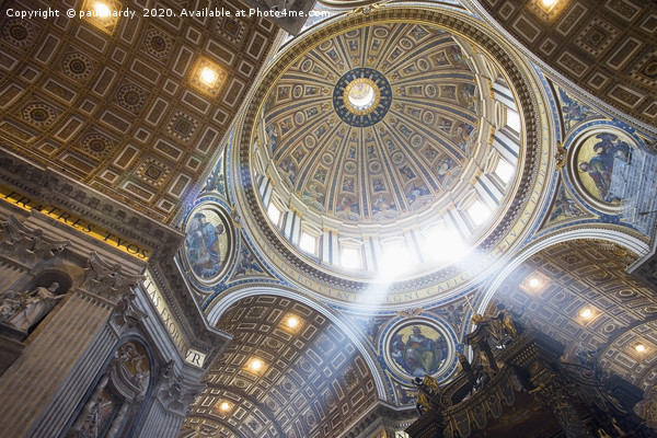 The interior of the Dome of St Peter`s Basilica.  Framed Mounted Print by paul hardy
