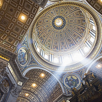 Buy canvas prints of The interior of the Dome of St Peter`s Basilica.  by paul hardy