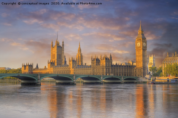 Big ben and the Houses of Parliament Framed Mounted Print by conceptual images