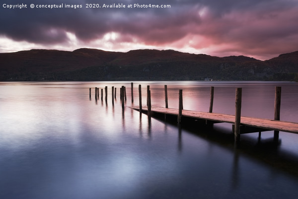 A view across Derwent water lake at dawn Framed Mounted Print by conceptual images