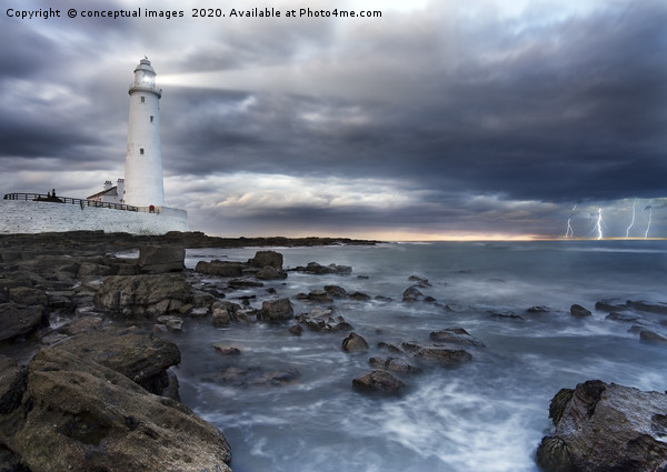 A view of a lighthouse a storm Framed Mounted Print by conceptual images