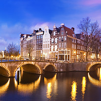 Buy canvas prints of Keizersgracht Canal at dusk, Amsterdam Netherlands by conceptual images