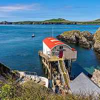 Buy canvas prints of New RNLI lifeboat station in St Justinians, Wales by Chris Yaxley