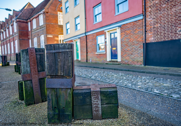 Wooden statues along Quayside, Norwich Framed Mounted Print by Chris Yaxley