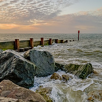 Buy canvas prints of High water at Cart Gap beach on the Norfolk coast by Chris Yaxley