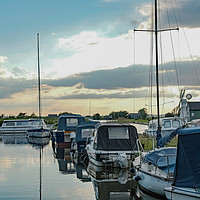 Buy canvas prints of Boats moored up in Thurne Dyke by Chris Yaxley