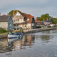 Buy canvas prints of Thurne Dyke public moorings, Norfolk Broads by Chris Yaxley