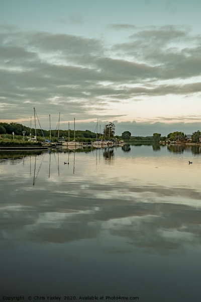 The River Bure in Horning at dusk Canvas Print by Chris Yaxley
