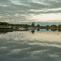 Buy canvas prints of The River Bure in Horning at dusk by Chris Yaxley