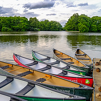 Buy canvas prints of Moored canoes and kayaks by Chris Yaxley