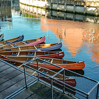 Buy canvas prints of Pub & Paddle canoe hire on the River Wensum, Norwi by Chris Yaxley