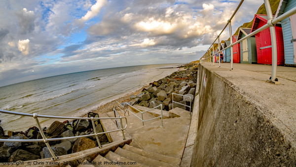 Wide angle fisheye view of the seaside promenade i Canvas Print by Chris Yaxley