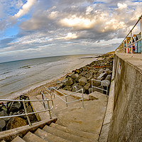 Buy canvas prints of Wide angle fisheye view of the seaside promenade i by Chris Yaxley