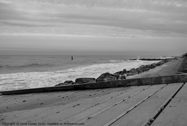 Cart Gap beach captured from the wooden ramp bw Framed Print by Chris Yaxley