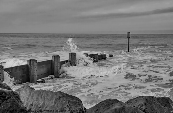 High tide at Cart Gap beach bw Acrylic by Chris Yaxley
