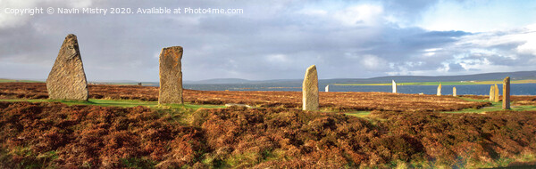 Ring of Brodgar, Orkney Islands, Scotland Panoramic Print by Navin Mistry