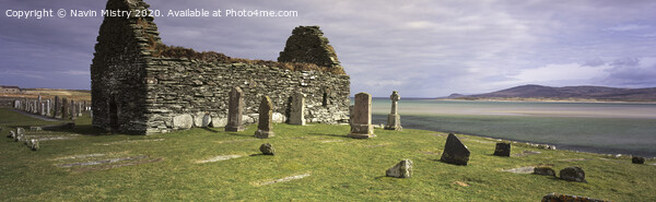The ruins of Kilnave Chapel, Islay, Scotland Framed Mounted Print by Navin Mistry