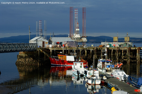Fishing boats in Cromarty Harbour, Highland Region, Scotland Print by Navin Mistry