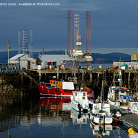 Buy canvas prints of Fishing boats in Cromarty Harbour, Highland Region, Scotland by Navin Mistry