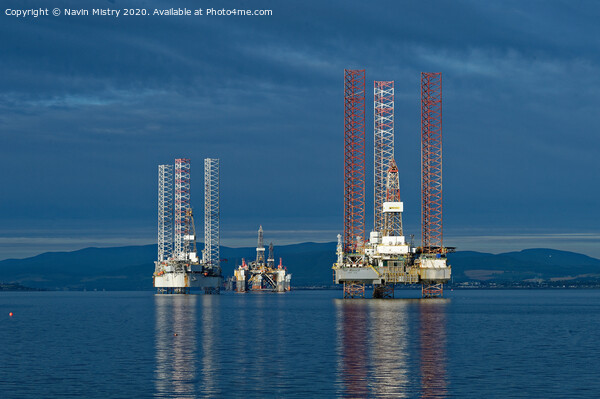 Drilling Rigs in the Cromarty Firth Print by Navin Mistry