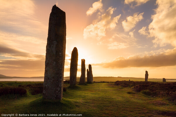 Ring of Brodgar Sunset Mainland Orkney SCOTLAND Canvas Print by Barbara Jones
