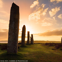 Buy canvas prints of Ring of Brodgar Sunset Mainland Orkney SCOTLAND by Barbara Jones