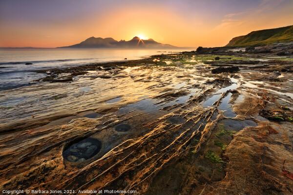 Laig Bay Sunset over Rum Isle of Eigg Scotland Canvas Print by Barbara Jones