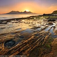 Buy canvas prints of Laig Bay Sunset over Rum Isle of Eigg Scotland by Barbara Jones