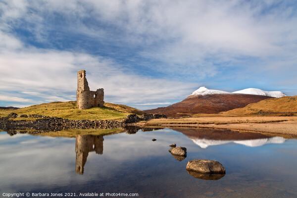 Loch Assynt Ardvreck Castle Scotland Canvas Print by Barbara Jones