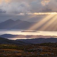 Buy canvas prints of Skye Sunbeams Bealach na Ba Applecross Scotland by Barbara Jones