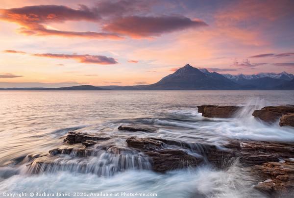 Skye Cuillin Sunset and Waves Elgol Scotland Canvas print by Barbara Jones
