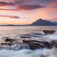 Buy canvas prints of Skye Cuillin Sunset and Waves Elgol Scotland by Barbara Jones