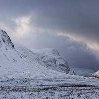Buy canvas prints of Glen Coe in Winter Scottish Highlands by Barbara Jones