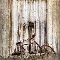 Buy canvas prints of Glen Etive Shed and Bike Scotland by Barbara Jones
