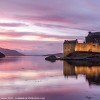 Buy canvas prints of Eilean Donan Castle Sunset Loch Duich Scotland by Barbara Jones